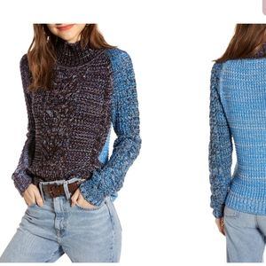 Treasure & Bond Colorblock Mock Neck Sweater